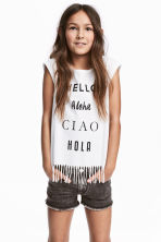 Fringed top - White -  | H&M 1