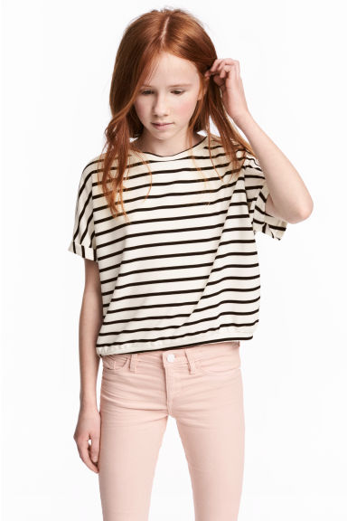 寬版上衣 - White/Black striped -  | H&M 1