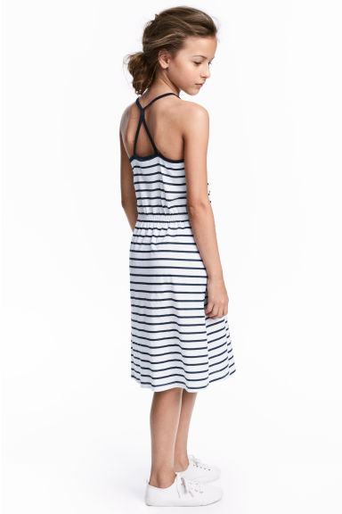 Jersey dress - White/Dark blue/Striped -  | H&M CN 1