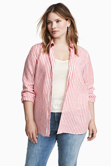 H&M+ Linen shirt - Red/White striped - Ladies | H&M 1