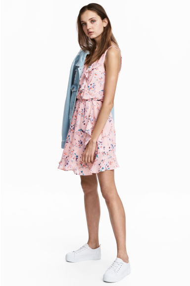 Flounced wrap dress - Light pink/Floral - Ladies | H&M 1