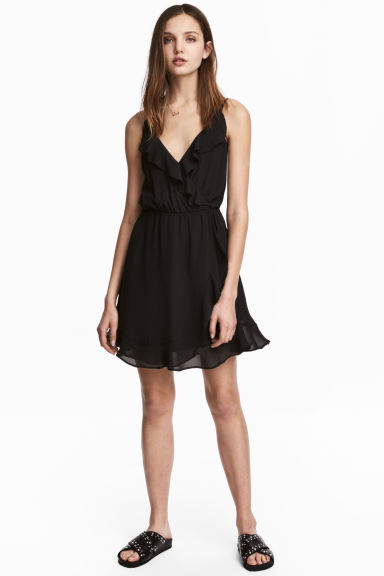 Flounced wrap dress - Black - Ladies | H&M 1