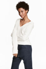 Hooded V-neck top - White - Ladies | H&M 1