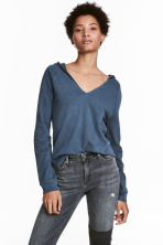 Hooded V-neck top - Dark blue - Ladies | H&M CN 1