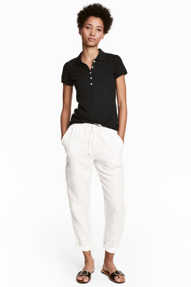 Linen joggers - White - Ladies | H&M CN
