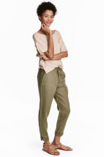 Linen joggers - Khaki green - Ladies | H&M IE 2