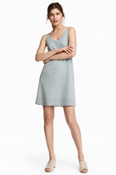 Dress with scalloped edges - Dusky green -  | H&M