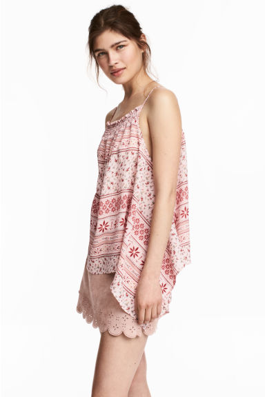荷葉邊細肩帶上衣 - Pink/Patterned - Ladies | H&M 1