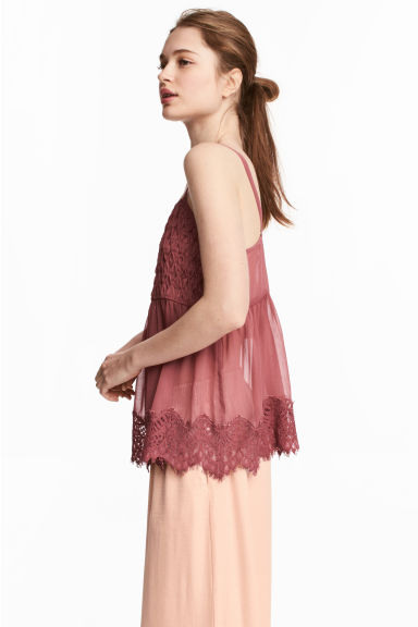 Wide top with lace straps - Brick red - Ladies | H&M 1