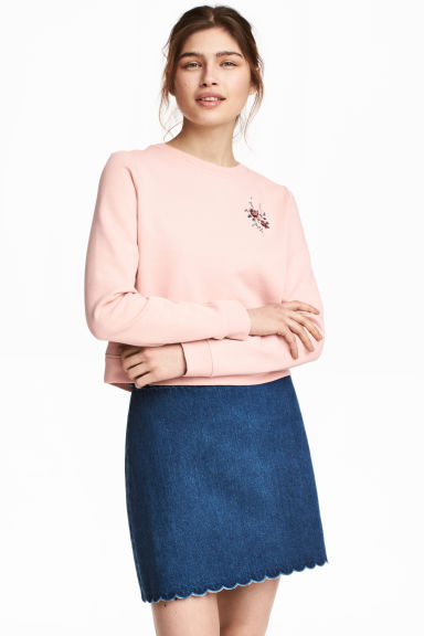 Sweatshirt with embroidery - Powder pink - Ladies | H&M 1
