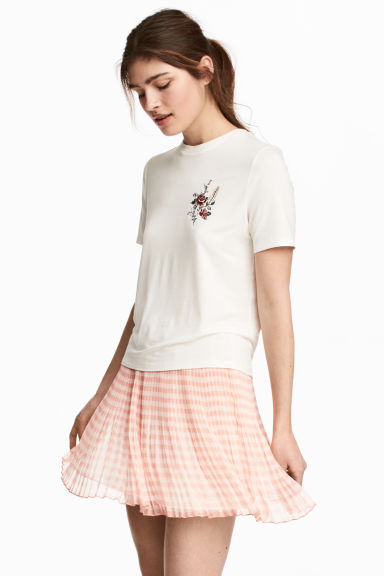 Pleated chiffon skirt - Powder pink/Checked - Ladies | H&M 1