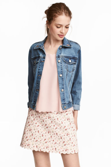 Short twill skirt - Light pink/Floral -  | H&M 1