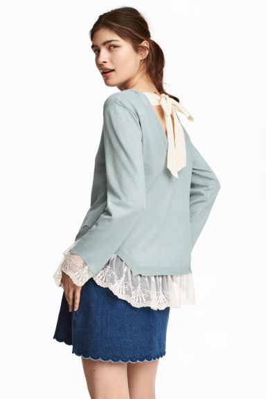 Jumper with lace trims - Dusky green - Ladies | H&M 1