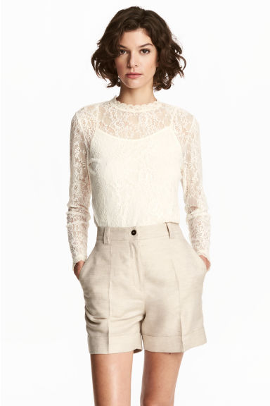 Long-sleeved lace top - Natural white - Ladies | H&M CN