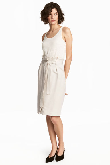 Linen-blend skirt - Light beige -  | H&M CN