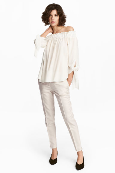 Linen-blend suit trousers - Light beige - Ladies | H&M 1