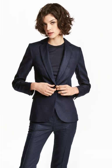 Tailored linen-blend jacket - Dark blue -  | H&M 1