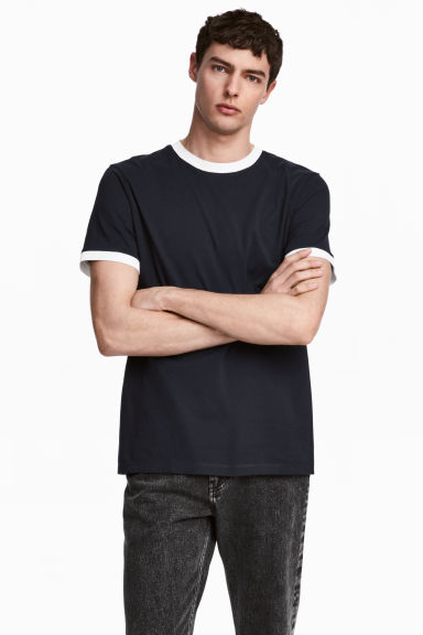 Cotton jersey T-shirt - Dark blue - Men | H&M 1