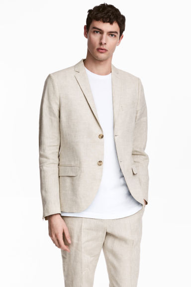 Linen jacket Slim fit - Natural white - Men | H&M CN 1