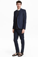 Linen suit trousers Slim fit - Dark blue - Men | H&M CN 2