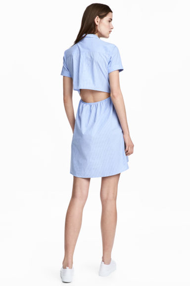 Short-sleeved cotton dress - Blue/Narrow striped -  | H&M