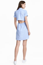 Short-sleeved cotton dress - Blue/Narrow striped -  | H&M 1