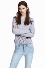 Top with appliqués - Grey - Ladies | H&M CN 1