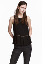Hemstitch-embroidered top - Black - Ladies | H&M 1