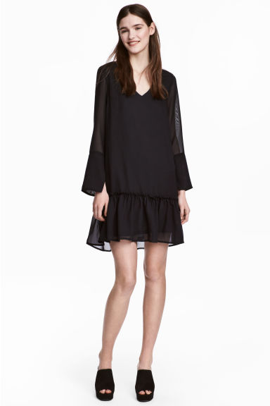 Chiffon dress - Black - Ladies | H&M 1
