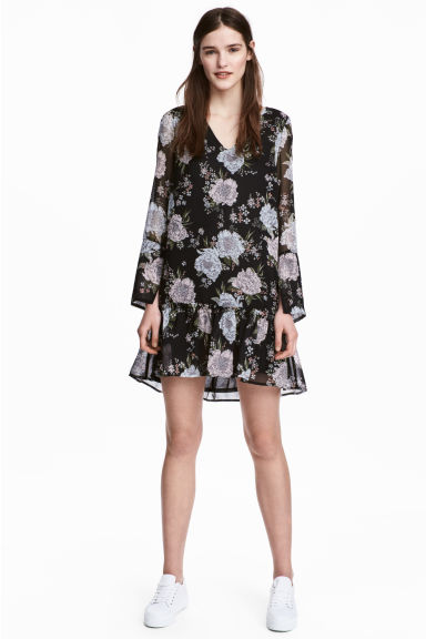 雪紡洋裝 - Black/Floral - Ladies | H&M 1