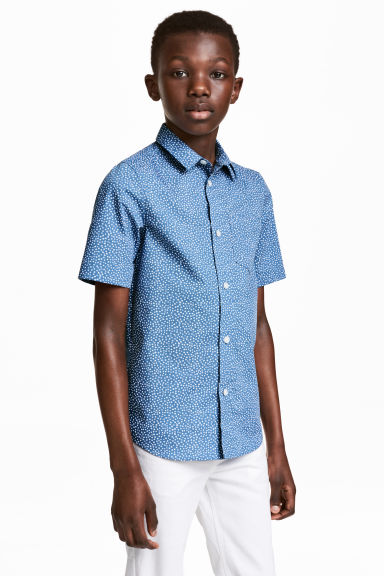 Short-sleeved easy-iron shirt - Blue/Spotted -  | H&M CN 1