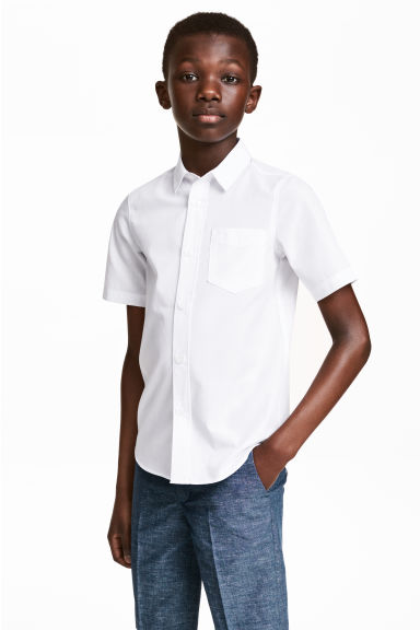 Short-sleeved easy-iron shirt - White - Kids | H&M