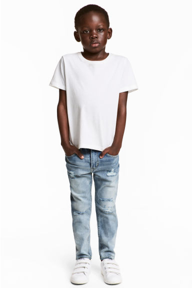 Relaxed Tapered Worn Jeans - 浅牛仔蓝 - 儿童 | H&M CN 1