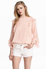 Double-layered chiffon blouse - Powder pink - Ladies | H&M CN 1