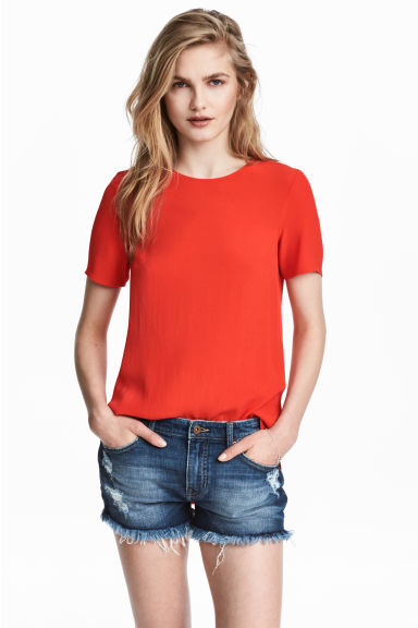Short-sleeved top - Red - Ladies | H&M 1