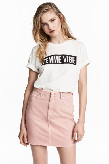 Denim skirt - Light pink denim - Ladies | H&M 1