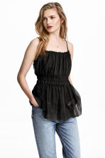 Mesh strappy top - Black - Ladies | H&M 1
