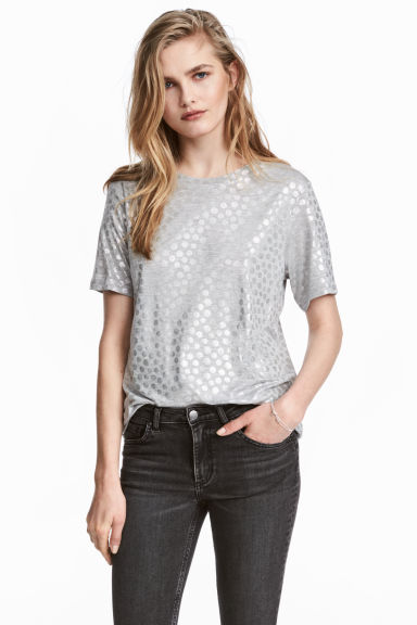 T-shirt with a motif - Grey marl/Patterned - Ladies | H&M 1