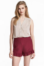 Frill-trimmed shorts - Burgundy - Ladies | H&M CN 1