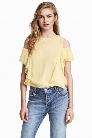 Cold shoulder flounced blouse - Light yellow - Ladies | H&M CN 1
