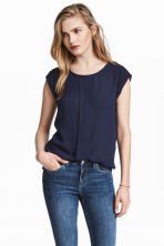 Pleated top - Dark blue - Ladies | H&M 1