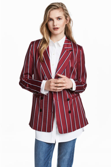 Striped blazer - Burgundy/Striped - Ladies | H&M 1