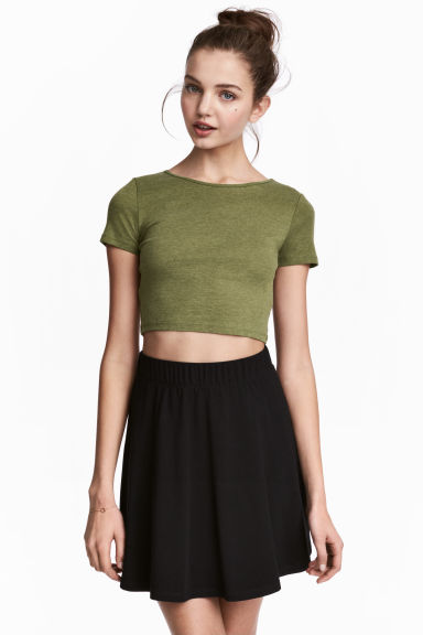 Cropped T-shirt - Khaki green - Ladies | H&M CN 1