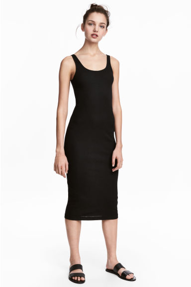 Ribbed dress - Black - Ladies | H&M CN 1