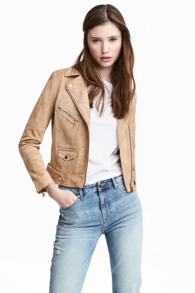 Imitation suede biker jacket - Beige - Ladies | H&M CN 1