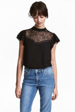 Blouse with a lace yoke - Black - Ladies | H&M 1