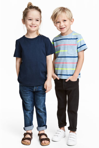 2-pack T-shirts - Blue marl/Striped - Kids | H&M CN 1
