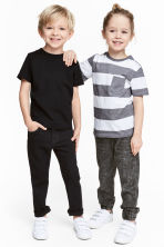 2-pack T-shirts - Black/White/Striped - Kids | H&M CA 1