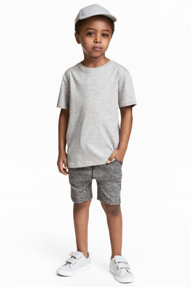 Sweatshirt shorts - Black/White marl -  | H&M 1