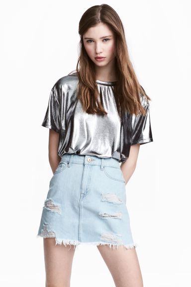 Metallic top - Silver - Ladies | H&M CN 1